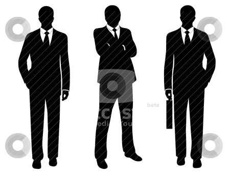 Businessmen stock vector clipart, businessmen in suit silhouette isolated on white by Ioana Martalogu
