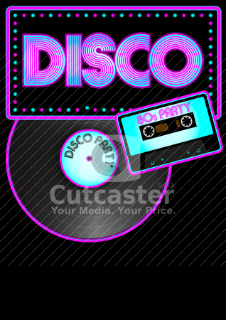 Party Background stock vector clipart, Party Background - Glowing Disco Sign, Vinyl Record and Audio Tape by JAMDesign