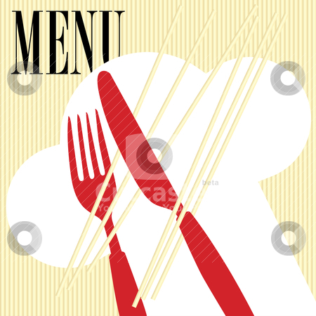 Menu Card - Pasta stock vector clipart, Menu Card Background - Pasta and Cutlery Icon by JAMDesign