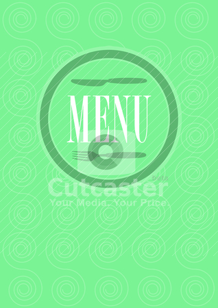 Menu Card Design stock vector clipart, Menu Card Design - Menu Sign and Pattern in Shades of Green by JAMDesign