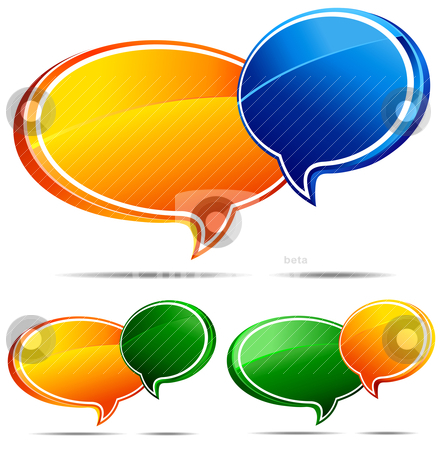 3D Speech bubbles stock vector clipart, All elements are grouped and on individual layers in the vector (AI8) file for easy use. by Fenton