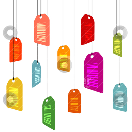 Hanging pricetags with barcodes stock vector clipart, hanging pricetags with barcodes on white by alekup