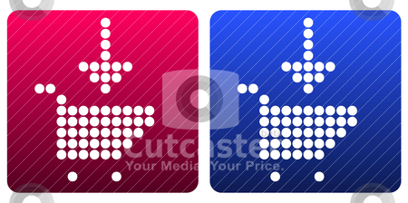 Shopping cart pictogram stock vector clipart, shopping cart pictogram of dots in red and blue  by alekup