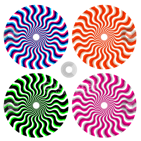 Optical ornamental wheels stock vector clipart, set of optical color ornamental wheels by alekup