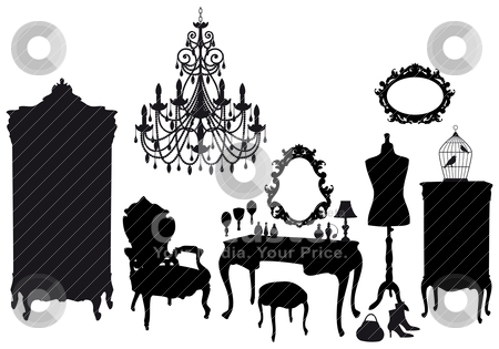 Vintage dressing room, vector stock vector clipart, dressing room with antique furniture, vector background by Beata Kraus
