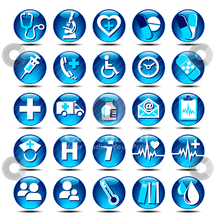 Health care Icons covering General Practice stock vector clipart, All elements are grouped and on individual layers in the vector (AI8) file for easy use. by Fenton