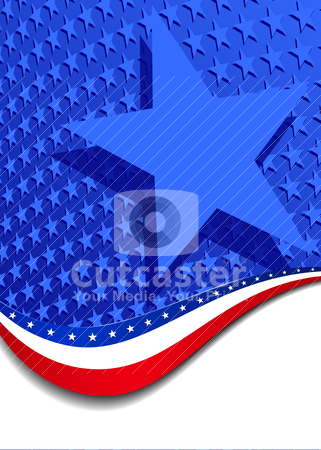 Stars and Stripes Portrait with large Star stock vector clipart, All elements are grouped and on individual layers in the vector (AI10) file for easy use. A large patriotic background with stars and stripes, in the vector file there are more stars outside the vector mask, for you to mask as you like.  by Fenton