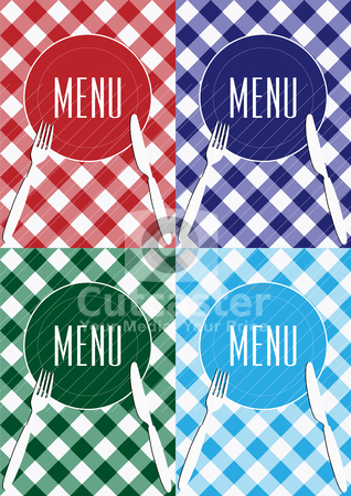 Set of Menu Card Background stock vector clipart, Menu Card Background - Cutlery and Gingham Texture in Four Colors by JAMDesign