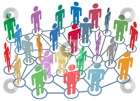Many people group talk network social media stock vector clipart, Company club or other group of many people talk on a busy social media network by Michael Brown
