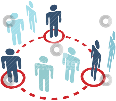 Key insider people social network circle connection stock vector clipart, Three key insider people connect in a social media network circle connection by Michael Brown
