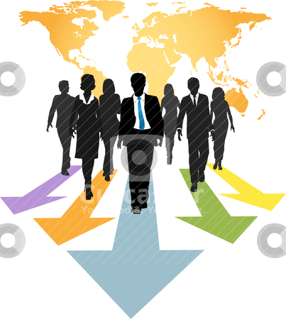 Global business people forward progress arrows stock vector clipart, Group of global business people walk forward on progress arrows from a world map by Michael Brown