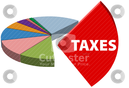 Business owe high tax part taxes chart stock vector clipart, High business taxes are the large piece of a business tax pie chart  by Michael Brown
