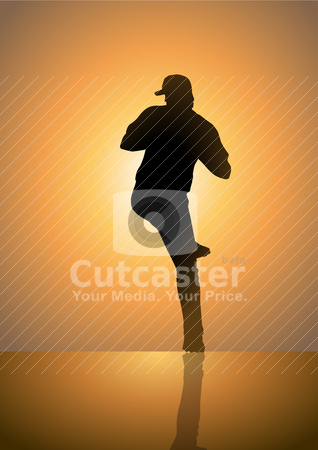 Baseball-Pitcher stock vector clipart, Silhouette illustration of a pitcher in baseball by rudall30