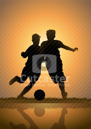 Playing Soccer stock vector clipart, Vector illustration of kids playing soccer by Rudolf Iskandar
