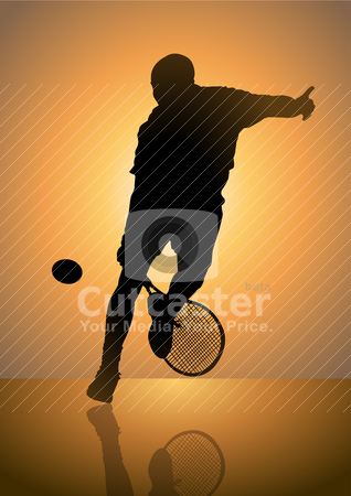 Playing Tennis stock vector clipart, Silhouette illustration of a male figure playing tennis by Rudolf Iskandar