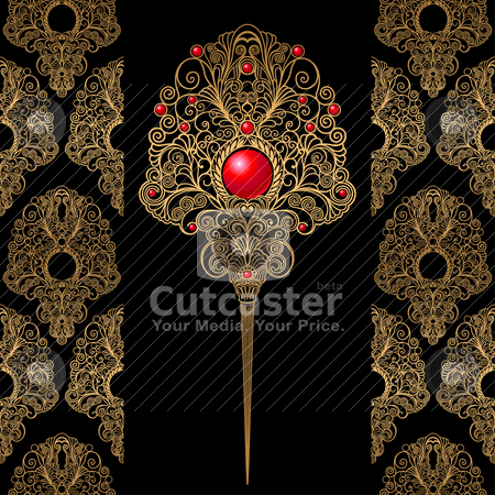 Classic Decoration with Wallpaper Background stock vector clipart, Classic Jewelry Decoration with Wallpaper Background, editable vector illustration by juland