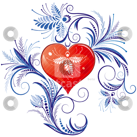 Red Heart With Blue Floral Ornaments stock vector clipart, Traditional Floral Christmas Decoration, editable vector illustration by juland