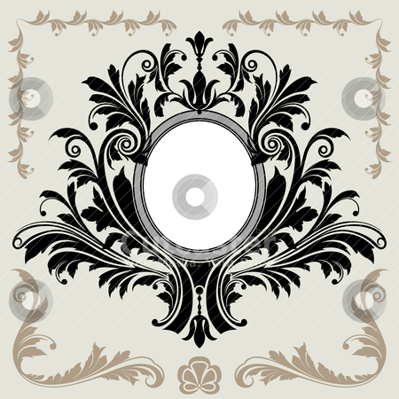 Floral Decoration Vignette stock vector clipart, Classical Floral Decoration Frame, editable vector illustration by juland