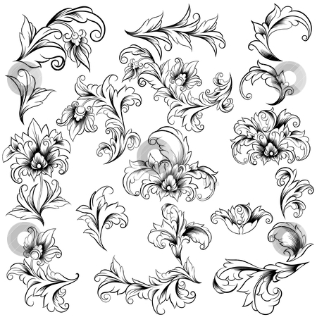 Set of Classical Floral Design Elements stock vector clipart, Collection of Classical Decorative Floral Design Elements on white background, editable vector illustration by juland