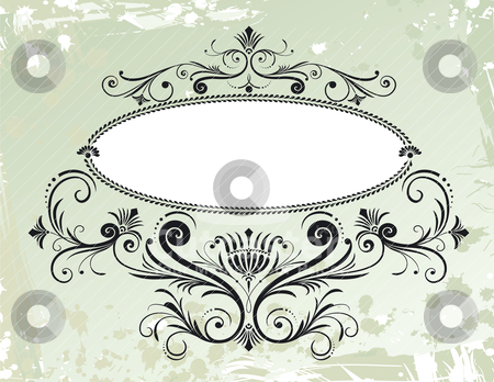 Floral Frame Ornament On Grunge Background stock vector clipart, Floral Frame Ornament On Grunge Background, editable vector illustration by juland
