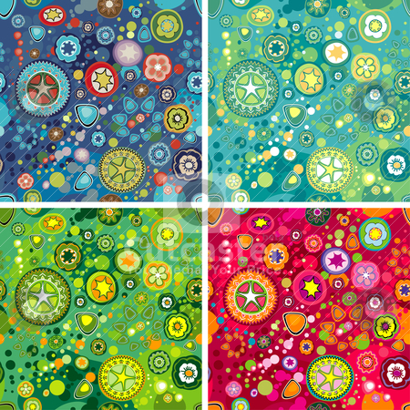 Flower Space Background stock vector clipart, Variations Of Colorful Flower Space Backgrounds, editable vector illustration by juland