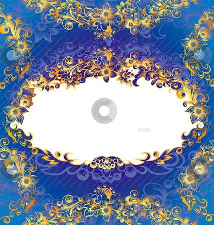 Decorative Blue Floral Frame stock vector clipart, Decorative Blue And Golden Floral Frame, editable vector illustration by juland