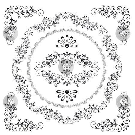 Decorative Floral Design Frame Elements stock vector clipart, Decorative Floral Design Frame Elements, editable vector illustration by juland