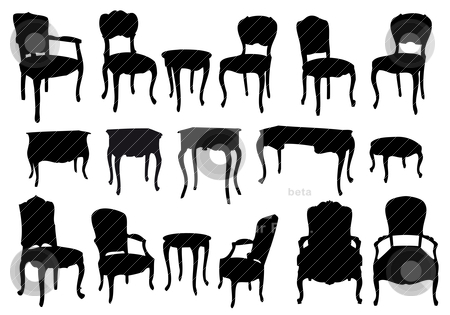 Antique chairs and tables, vector stock vector clipart, chairs and tables, antique furniture, vector illustration by Beata Kraus