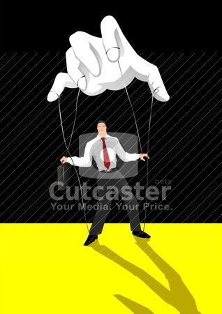 Control stock vector clipart, Vector illustration of a businessman being control by puppet master by Rudolf Iskandar