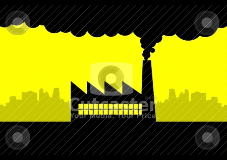 Pollution stock vector clipart, Vector illustration of a factory by Rudolf Iskandar