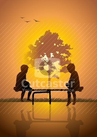 Teeter Totter stock vector clipart, Vector illustration of two kids playing teeter totter by Rudolf Iskandar