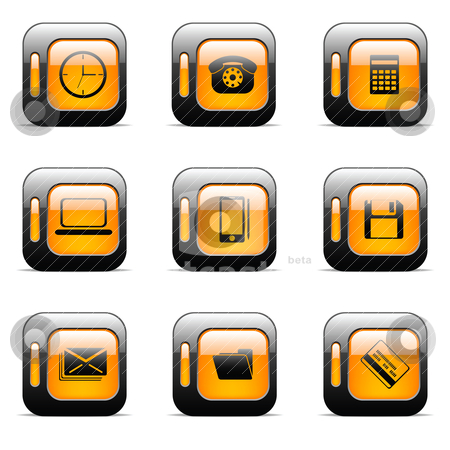 Orange icon set stock vector clipart, Original vector buttons for web design (set 2) by Vladimir Gladcov