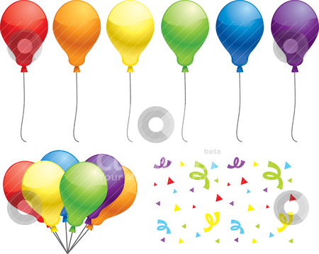 clip art balloons and confetti. alloons and confetti.