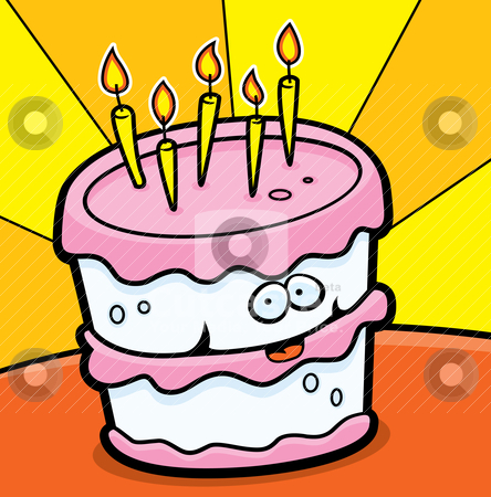 happy birthday cake cartoon. A happy cartoon birthday cake