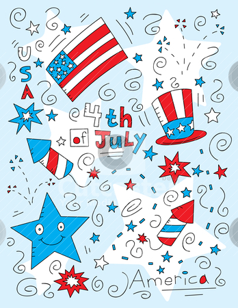 Fourth of July Doodle stock vector clipart, A cartoon doodle with a Fourth of July theme. by cthoman