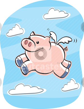 Pig Flying stock vector clipart, A happy cartoon pig flying in the air. by cthoman