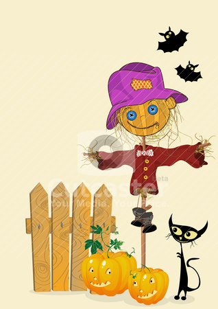 Celebration card  stock vector clipart, Scarecrow and pumkins, celebration card by Richard Laschon