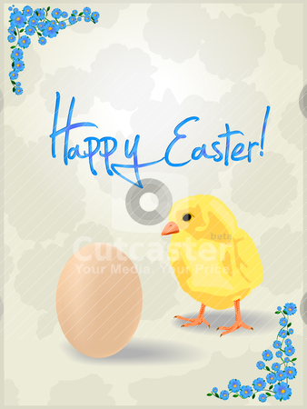 Easter card stock vector clipart, Celebration card for Easter. Chicken and egg by Richard Laschon