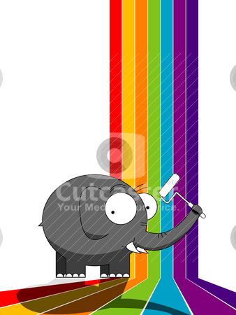 Elephant painting a rainbow stock vector clipart, Cartoon character elephant painting a rainbow by Richard Laschon