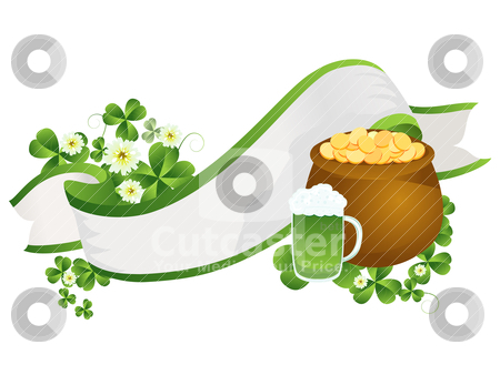 St. Patrick';s Day ribbon stock vector clipart, Decorative ribbon with beer pint, pot of gold and clover leaves by Richard Laschon