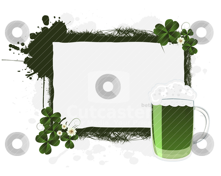 St. Patrick's banner stock vector clipart, St. Patrick's green beer and clovers, banner by Richard Laschon