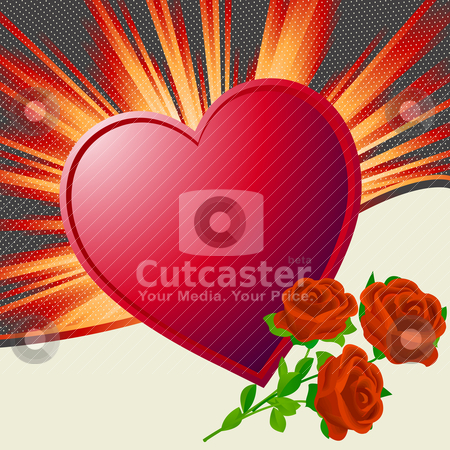 Valentine's Day illustration stock vector clipart, Valentine's Day illustration with heart shape and roses by Richard Laschon