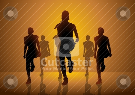 Aerobic stock vector clipart, Silhouette illustration of women doing aerobic by Rudolf Iskandar