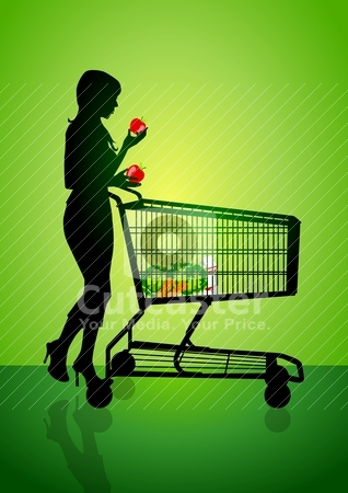 Shopping stock vector clipart, Silhouette illustration of a woman with a trolley  by Rudolf Iskandar