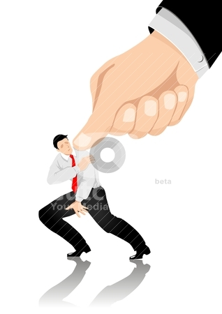 Under Pressure stock vector clipart, Illustration of man being pressed by a giant thumb by rudall30