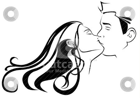 Kissing stock vector clipart, Graphic illustration of a kissing couple by Rudolf Iskandar