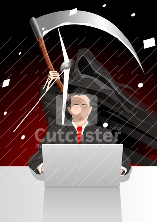 Deadline stock vector clipart, Illustration of a man working on the laptop with grim reaper on the background by Rudolf Iskandar