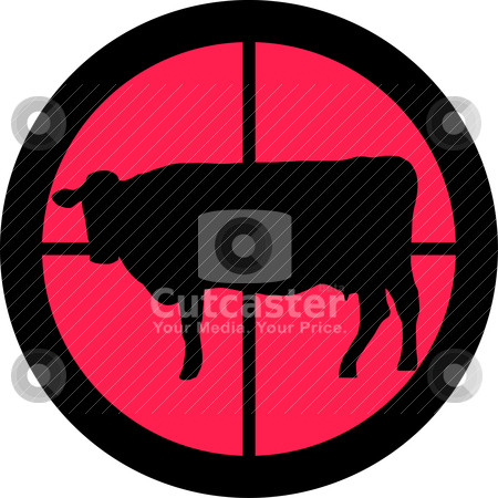In the Scope Series - Cow stock vector clipart, In the scope series - Cow in the crosshair of a gun's telescope. Can be symbolic for need of protection, being tired of, intolerance or being under investigation. by Snap2Art