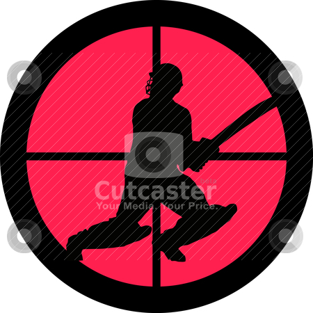 In the Scope Series Cricket / Cricketer  stock vector clipart, In the scope series - Cricket / Cricketer in the crosshair of a gun&#039;s telescope. Can be symbolic for need of protection, being tired of, intolerance or being under investigation. by Snap2Art