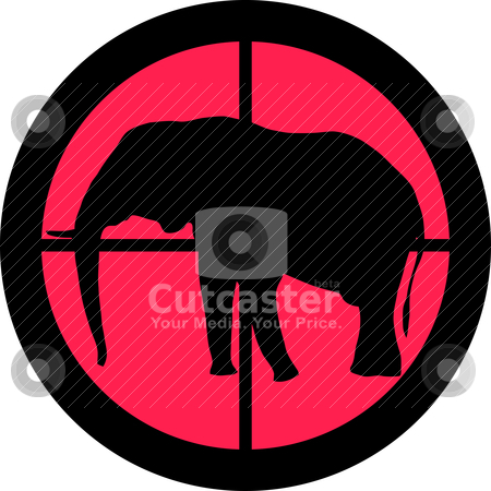 In the Scope Series - Elephant stock vector clipart, In the scope series - Elephant in the crosshair of a gun's telescope. Can be symbolic for need of protection, being tired of, intolerance or being under investigation. by Snap2Art